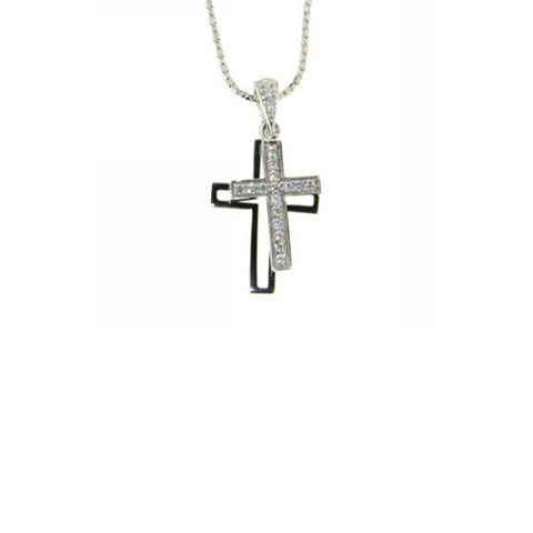 Ellani Sterling Silver CZ Double Cross Pendant