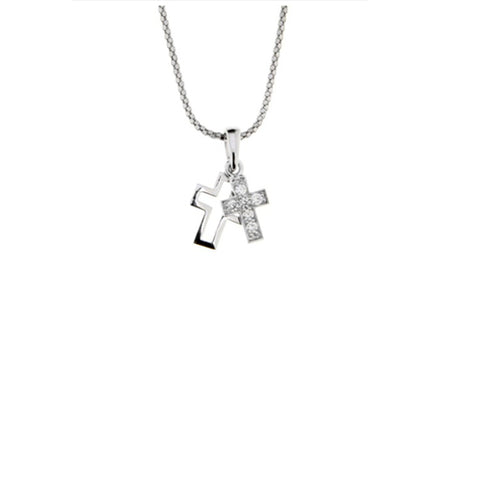Ellani Sterling Silver Small CZ Double Cross Pendant