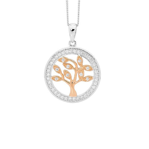 Ellani Sterling Silver Rose Gold Plated Tree of Life Necklace