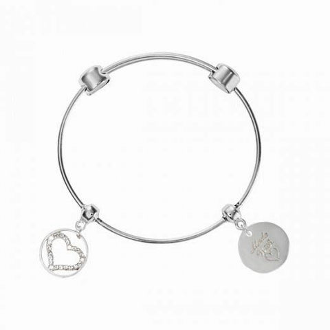 Nikki Lissoni Silver Plated Expandable Bangle - Made With Love