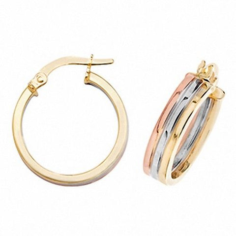 9ct Yellow Gold Three Tone Hoop Earrings