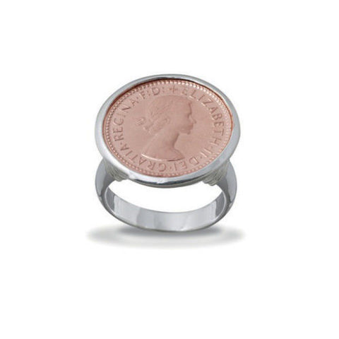 Von Treskow Sterling Silver Authentic Australian Sixpence Coin Ring