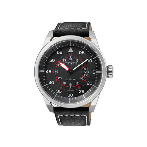 Citizen Eco-Drive Silver and Black Leather Band Watch