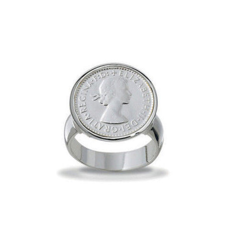 Von Treskow Sterling Silver Authentic Australian Threepence Coin Ring