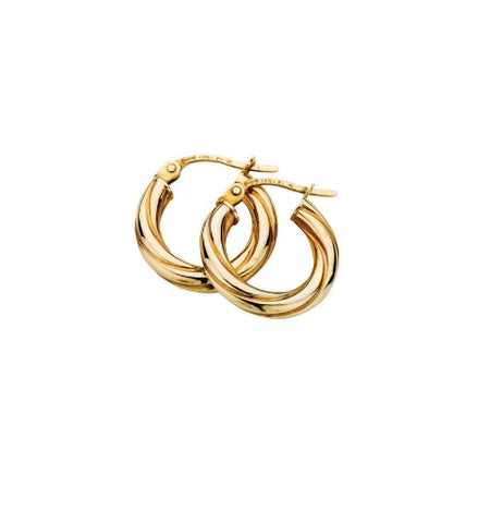 9ct Yellow Gold Thick Twisted Hoop Earrings 18mm