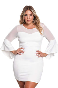 White Plus Size Mesh Trim Bell Sleeve Bodycon Dress