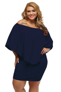 Plus Size  Dark Blue Poncho Dress - Its Trendy Frenzy