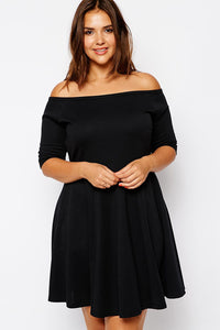 Boat Neck Fleshy Black Skater Dress - Its Trendy Frenzy