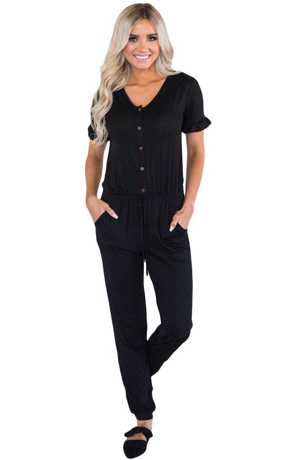 Black Ruffled Short Sleeve Casual Jersey Jumpsuit - Its Trendy Frenzy