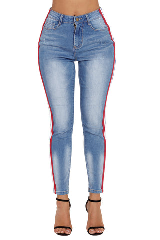 Rainbow Racer Striped Blue Skinny Jeans - Its Trendy Frenzy