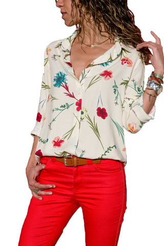 White Long Sleeve Floral Print Button Front Shirt