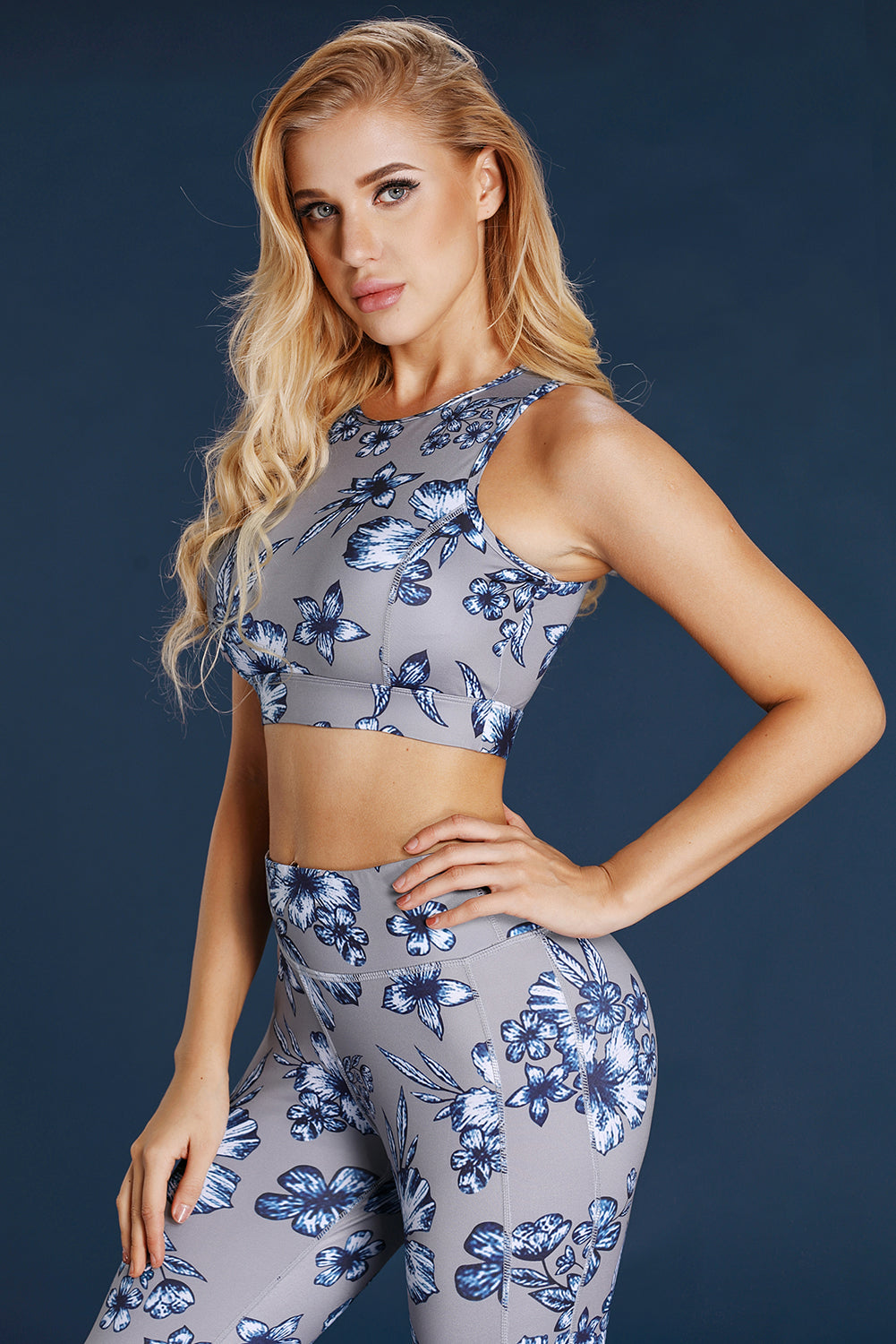 Floral Print High Neck Racerback Sport Bra - Its Trendy Frenzy