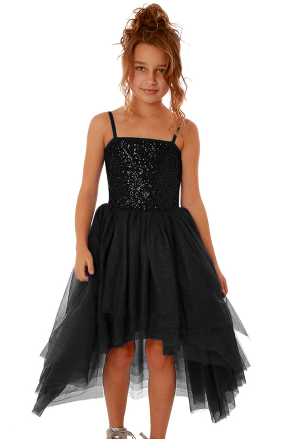 Black Sequin Bodice Tulle Hi-low Dress - Its Trendy Frenzy