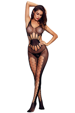 Black Transparent Hollow Out Mesh Body Stocking - Its Trendy Frenzy