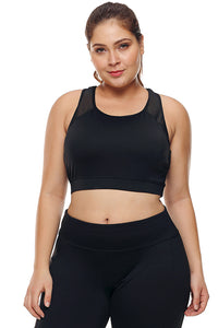 Black Sheer Mesh Back Plus Size Sports Bra - Its Trendy Frenzy