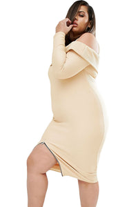Plus Ribbed Cold Shoulder  Long Sleeves Dress - Its Trendy Frenzy