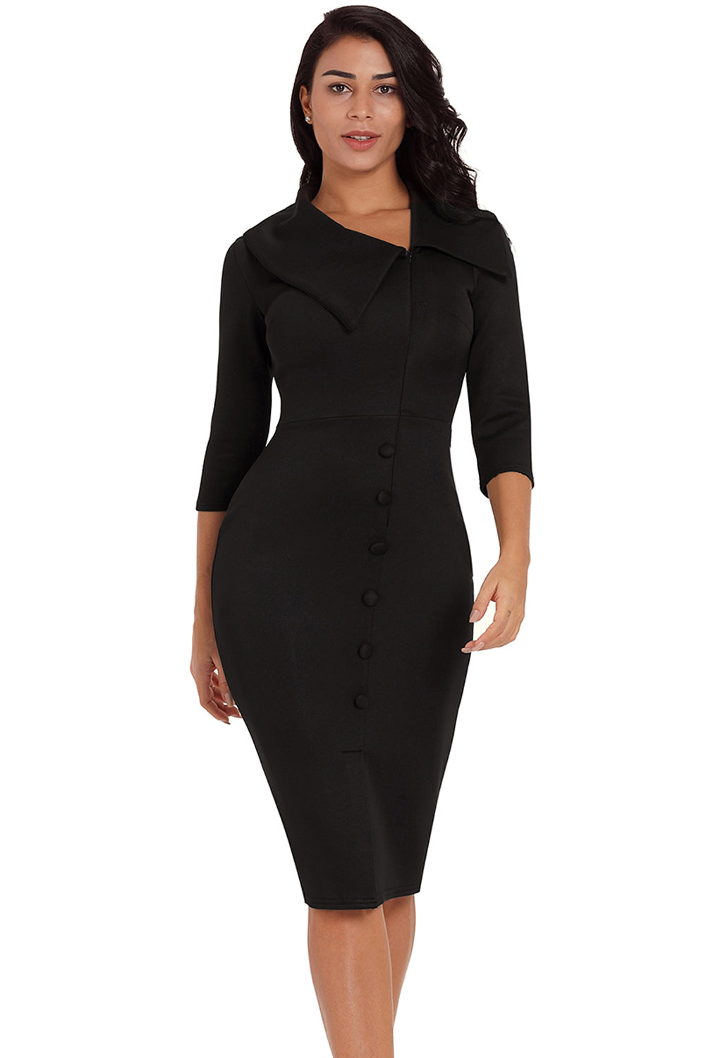 Black Long Sleeve  Bodycon Midi Dress - Its Trendy Frenzy