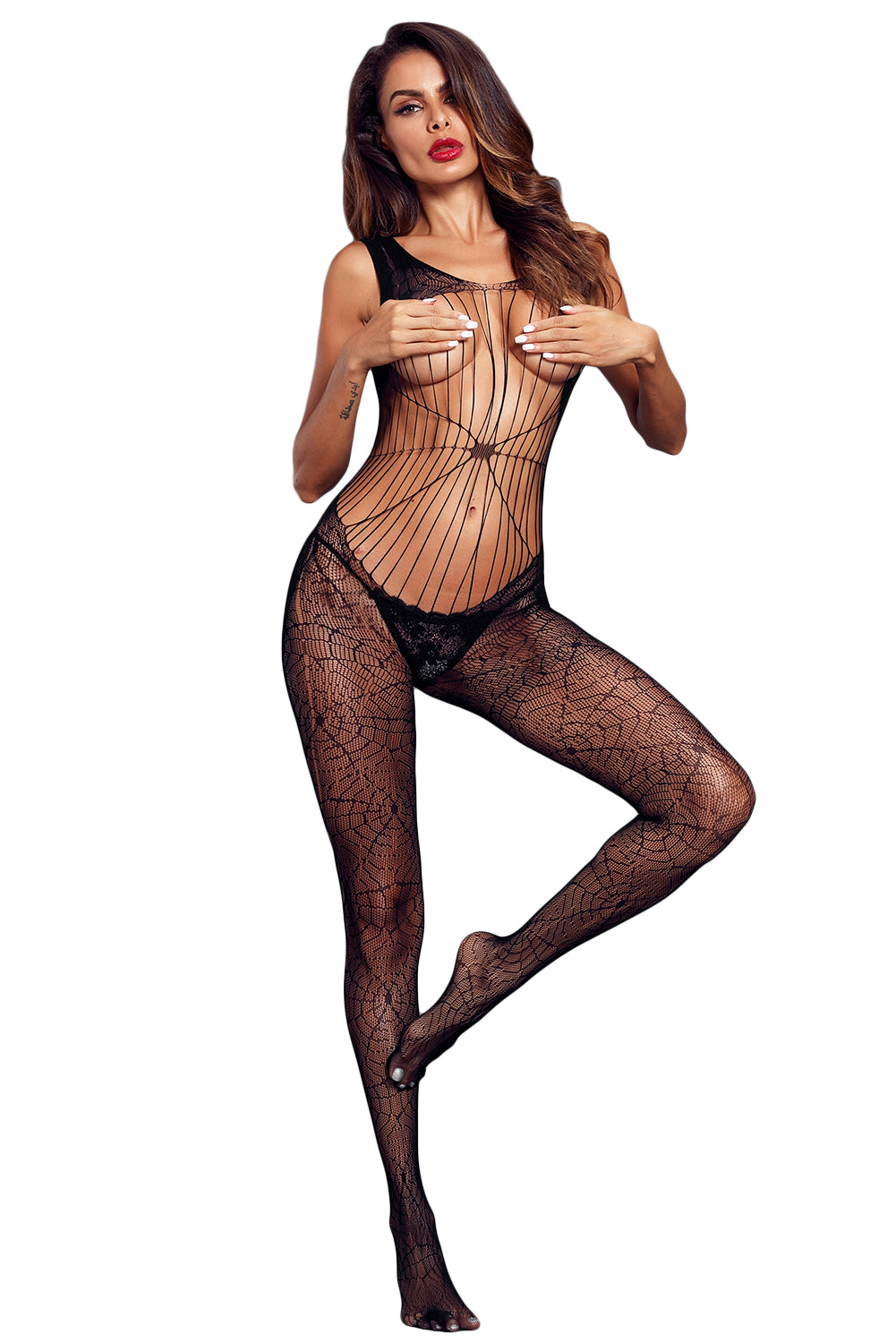 Black Daring See Through Cobweb Bodystocking - Its Trendy Frenzy