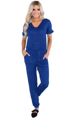 Navy Blue Ruffled Short Sleeve Casual Jersey Jumpsuit - Its Trendy Frenzy