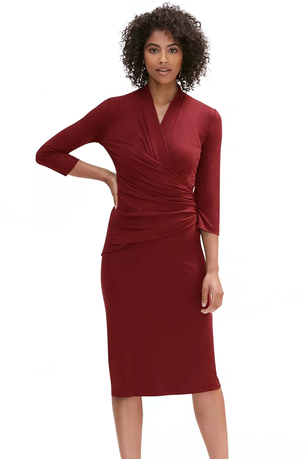 Dark Red Long Sleeve Pleated Wrap Midi Dress - Its Trendy Frenzy