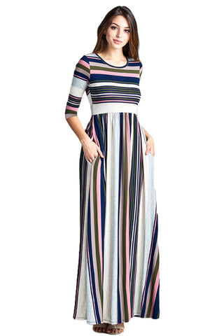 Multicolor Striped Casual Pocket Style Maxi Dress - Its Trendy Frenzy