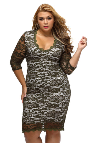 Olive Plus Size Laced Overlay High Low Dress - Its Trendy Frenzy