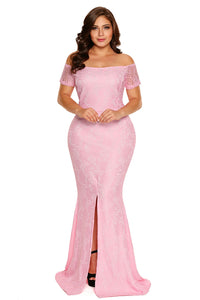 Pink Plus Size Off Shoulder Lace Gown - Its Trendy Frenzy