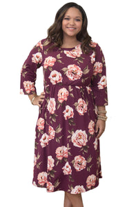 Burgundy Floral Printing Plus Size Dress - Its Trendy Frenzy