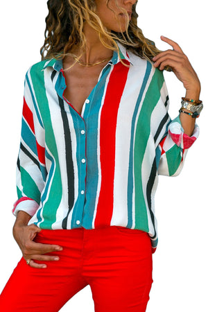 Green Blue Striped Long Sleeve Button Down Shirt - Its Trendy Frenzy