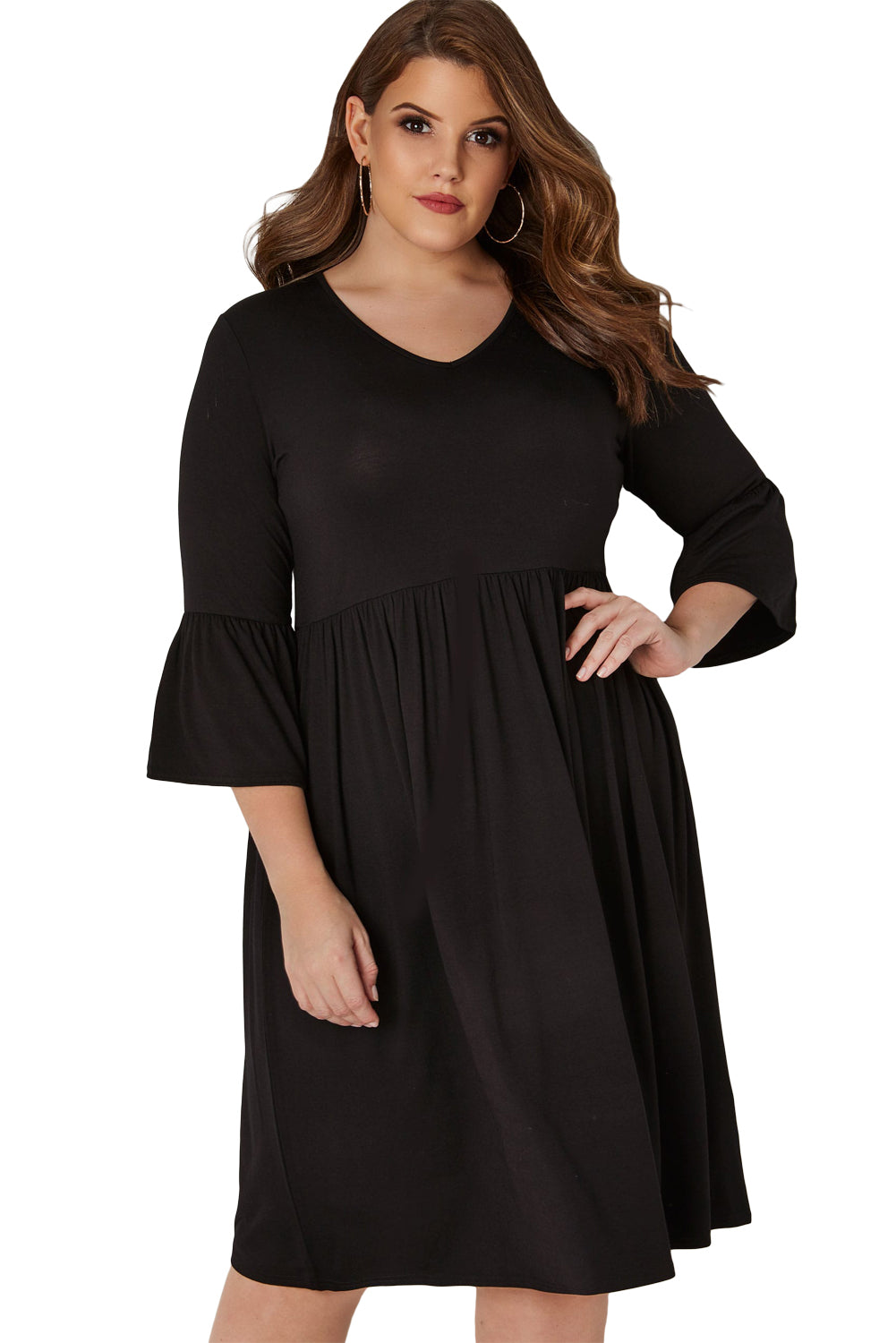 Black Flute Sleeves Plus Size Jersey Dress - Its Trendy Frenzy