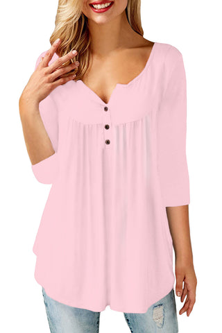 Pink 3/4 Sleeve Button Detail Pleated Tunic - Its Trendy Frenzy