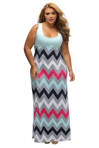 Plus Size Multicolor Zigzag Maxi Dress - Its Trendy Frenzy