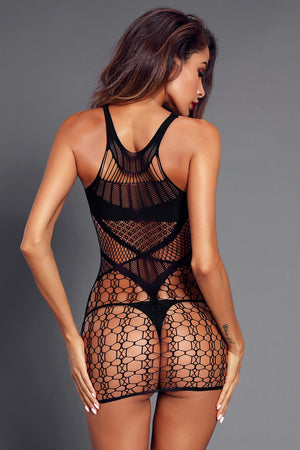 Black Multi Netted Hollow Out Chemise Lingerie - Its Trendy Frenzy