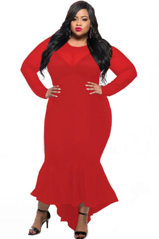 Red Sheer Mesh Splice Curvy Mermaid Dress