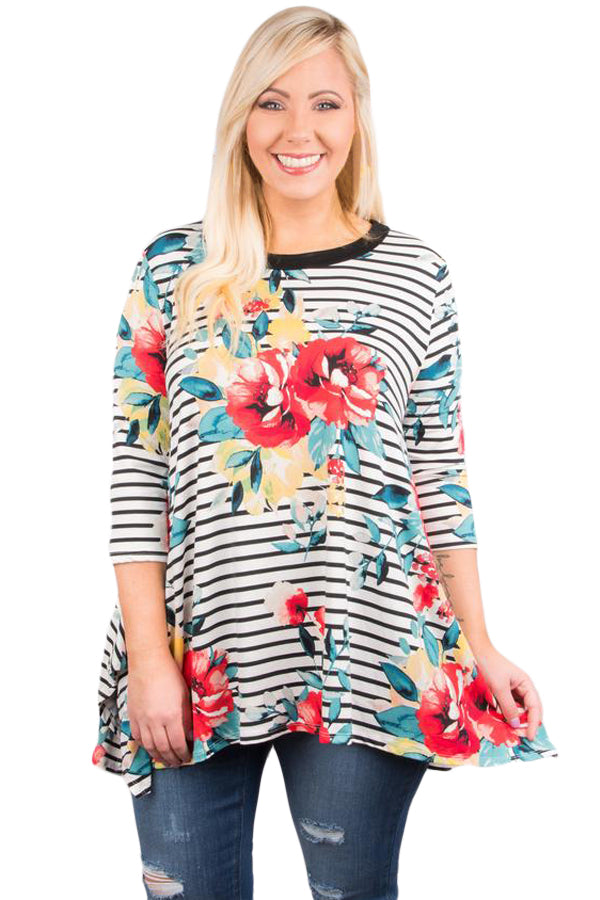 White Stripes Flower Print Flowy Top - Its Trendy Frenzy