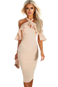 Nude Frill Cold Shoulder Midi Dress - Its Trendy Frenzy