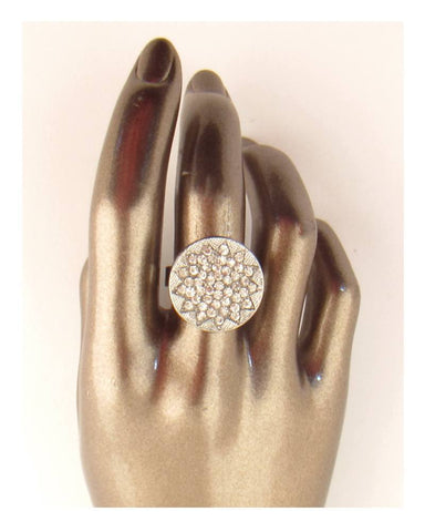 Circle w/ rhinestones adjustable ring - Its Trendy Frenzy