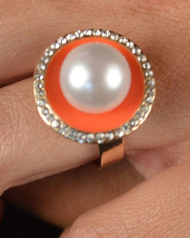 Faux Pearl Rhinestone Ring - Its Trendy Frenzy