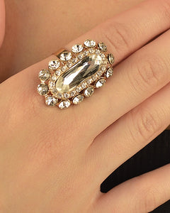 Elliptical Ring with Stone Accents - Its Trendy Frenzy