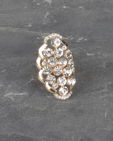 Adjustable Crystal Studded Oval Shaped Ring - Its Trendy Frenzy