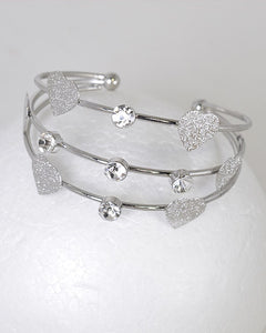 3 Layer Crystal Heart Charm Adjustable Cuff Bracelet - Its Trendy Frenzy