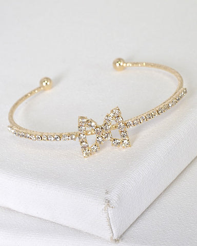 Crystal Studded Bow Accent Adjustable Open End Bracelet - Its Trendy Frenzy