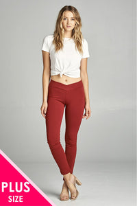 Ladies fashion plus nr span ponte seagull shaped waistband long pants - Its Trendy Frenzy