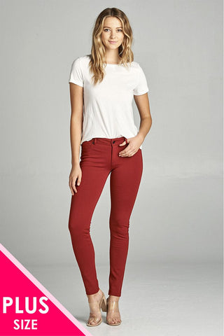 Ladies fashion plus size 5-pockets shape skinny ponte pants - Its Trendy Frenzy