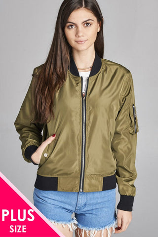 Ladies fashion plus size light weight bomber jacket w/back rib contrast - Its Trendy Frenzy