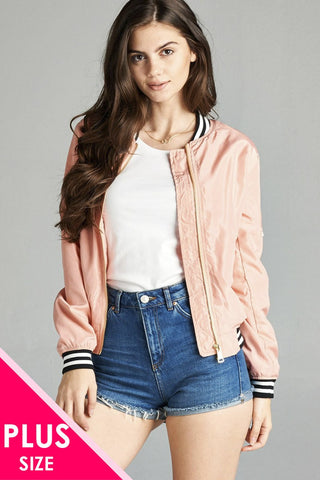 Ladies fashion plus size light weight bomber jacket w/ varsity stripe trim - Its Trendy Frenzy