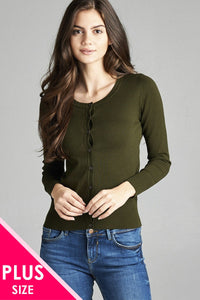Ladies fashion plus size 3/4 sleeve crew neck cardigan sweater - Its Trendy Frenzy