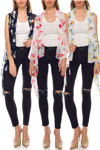 Floral print sheer open vest - Its Trendy Frenzy