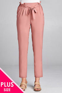 Ladies fashion plus size self ribbon detail long leg woven pants
