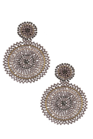 Round woven glass bead dangle earring - Its Trendy Frenzy